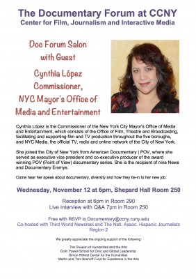 1st Doc Forum Salon: Commissioner Cynthia López of the NYC's Mayor's Office of Media and Entertainment, Nov. 12, 2014