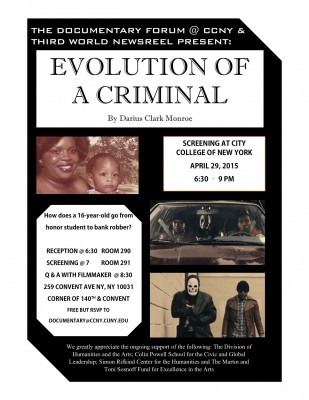 Darius Clark Monroe in Person for Screening of 'Evolution of a Criminal' April 29, 2015