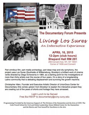 EAT Film! A Lunchtime Event: Living Los Sures with Union Docs' Christopher Allen Thursday April 16, 2015 12-2pm