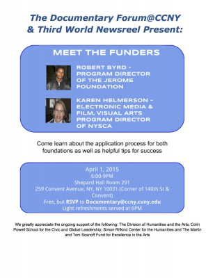Meet the Funders from the Jerome Foundation and NYSCA on April 1, No Fooling!