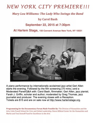 Mary Lou Williams: The Lady Who Swings the Band by Carol Bash Premieres Sept. 22, 2015