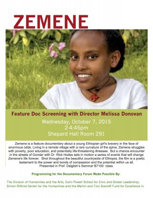 Zemene by Melissa Donovan with Q&A; October 7, 2015 2-4:45pm Shepard Hall Room 291