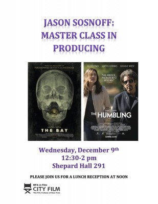Producing Master Class with Jason Sosnoff. December 9th 12:30-2pm