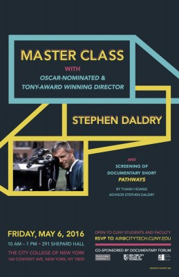 May 6: Master Class with Oscar-Nominated Stephan Daldry 10am-1pm