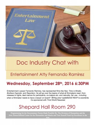 Documentary Legal Ease with Entertainment Attorney Fernando Ramirez on Sept. 28, 2016