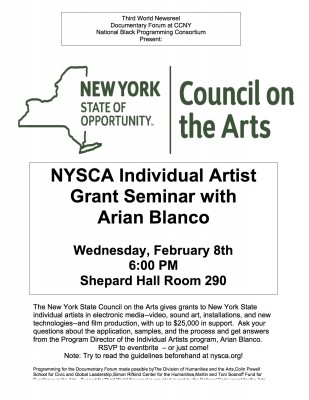 The Ends and Outs of An Individual NYSCA Grant February 8, 2017