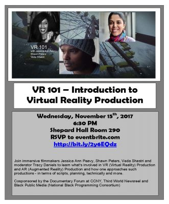 Learn the basics of Vitual Reality in our 101 Panel on November 15, 2017