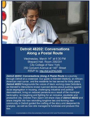 March 14, 2018: Detroit 48202: Conversations Along a Postal Route by Pam Sporn