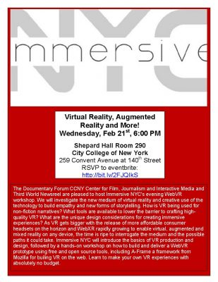Virtual Reality Part 2: No Budget VR with Immersive NYC February 21, 2018